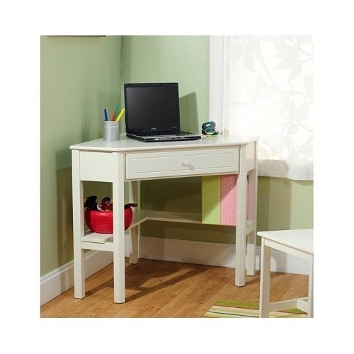 Corner Computer Desk.White Wood Antique Finish. Perfect For Kids Or Adults,Girls/Boys.Perfect Addition To Your Home Office Furniture Or Bedroom. front-634715