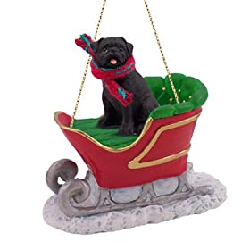 PUG Black Dog rides on a SLEIGH Christmas Ornament