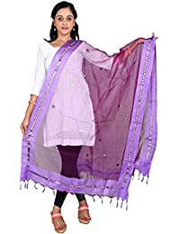 BILOCHI'S Tissue Mirror Work Party Wear Dupatta,chunni,stole,scarves(Length:99 Inche,Purple)