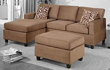 Poundex F7662 Light Brown Microfiber Living Room Sectional Sofa
