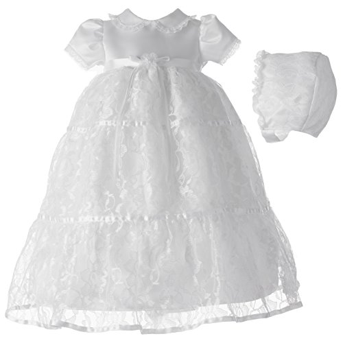 Lauren Madison baby girl Christening Baptism Special occasion Newborn Floral Lace dress gown , White, 6-9 Months