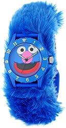Sesame Street Kids' SW4930GR Grover Blue Furry Slap Watch