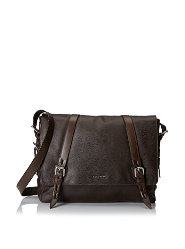 Cole Haan Men's Pebble Leather Messenger Bag, Chocolate