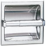 "Bobrick 667 304 Stainless Steel Recessed Toilet Tissue Dispenser with Mounting Clamp, Bright Finish, 6-1/8"" Width x 6-1/8"" Height"