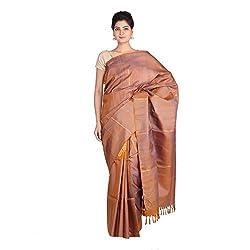 Indian Artizans Rust Pure Silk Kanjivaram Saree
