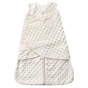 HALO SleepSack Plush Dot Velboa Swaddle, Cream, Newborn
