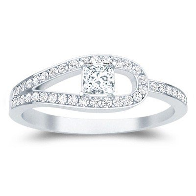 0.58 Carat Cheap Wedding Ring with Round cut Diamond on 14K White gold