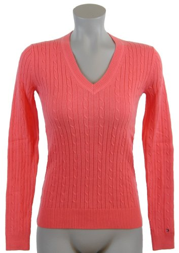 Tommy Hilfiger Womens Cable Knit Cotton Logo Sweater - M - Peach