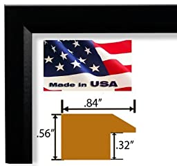 24x32 Inches Custom Cut Designer Black Picture Poster Solid Real Poplar Wood .84 inch Moulding