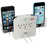 EZOPower UL Certified Wall Mount Power Surge Protector with 3 AC Outlet Plug + 2 USB Charger Ports (2.1A) + Holder