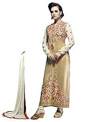 1 Stop Fashion Cream Semi Stitched Faux Georgette Straight Cut Salwar Kameez