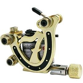 10 Wrap Coils Golden Alloy Tattoo Machine Shader&Liner Gun