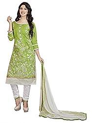Blissta Green Embroidered Cotton Salwar Suit Dress Material(MDMST12)