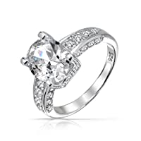 Bling Jewelry Brilliant Cut Oval CZ Solitaire Silver Engagement Ring Three Sided by Bling Jewelry
