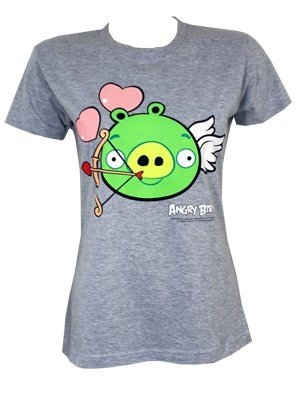 Officially Licensed Angry Birds Cupid Pig Ladies Grey T-Shirt