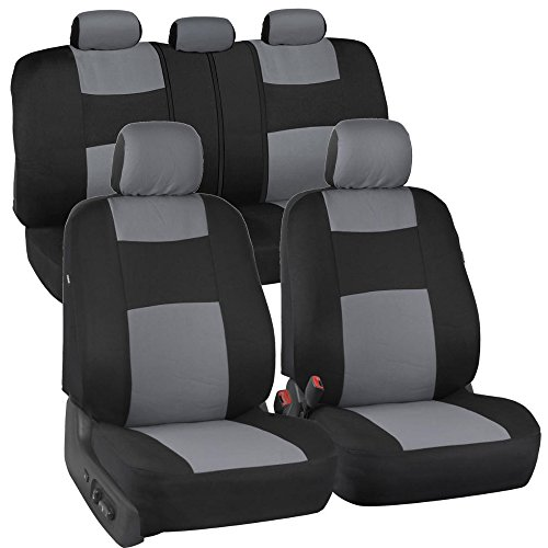 PolyCloth Black/Gray Car Seat Covers - EasyWrap Two-Tone Accent for Auto (Grey Universal Car Seat Covers compare prices)