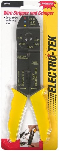 Professional Electro-Tek Wire Stripper & Crimping Pliers - Yellow