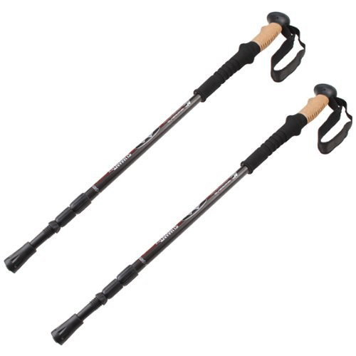 Agptek (1 Pair/2 Pack) Black Adjustable Telescoping Anti Shock Hiking/Walking/Trekking Trail Poles For Outdoor Camping Recreation