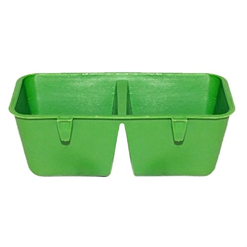 C-Pioneer 2-in-1 Double Plastic Troughs Food Water Feeding Bowl Dish for Parrot Hamster Totoro Cage (Double Food Dish compare prices)