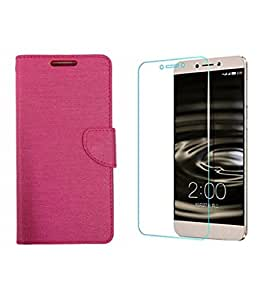 ZYNK CASE FLIP COVER PINK WITH TEMPERED GLASS FOR LeEco Le 2