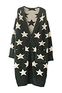 Oasap Women's Classic V Neckline Long Sleeves Star Long Cardigan