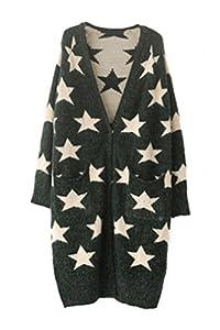 Oasap Women's Classic V Neckline Long Sleeves Star Long Cardigan