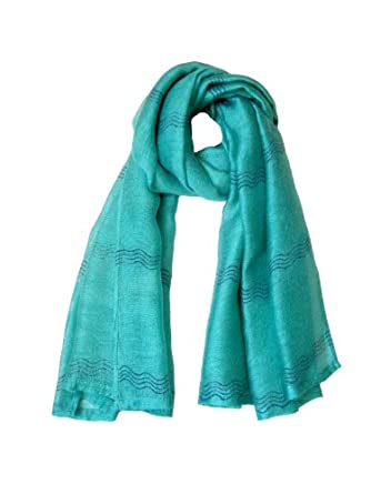 Wavy Stripes Block Print Wool & Silk Woven Scarf