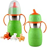 The Safe Sippy Cup & Safe Sippy 2 2-in-1 Sippy to Straw Bottle, Twin Pack, Green