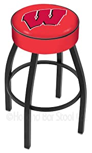 Wisconsin Badgers - 30 Inch Cushion Seat with Black Wrinkle Base Swivel Bar Stool