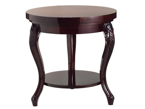 "24""Dx24""H French Round Coffee Table Mahogany"