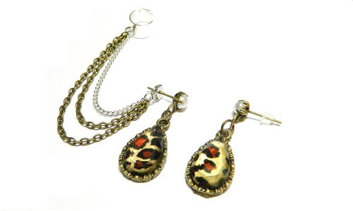 Antique Brass Leopard Teardrop Chain Ear Cuff Handmade