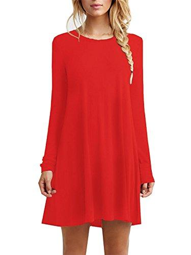 Women's Long Sleeve Swing Loose Flowy Short Casual Tunic Shirt Mini Dress Red S