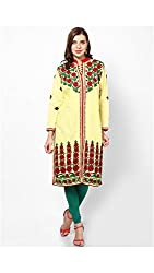 Cotton Yellow Chinese Collar Kurti
