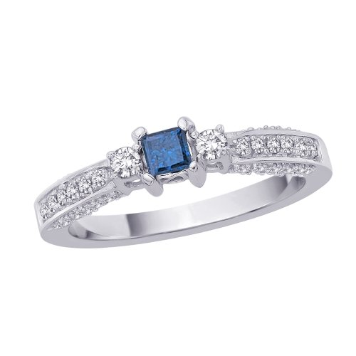 For sale Three Stone Plus Diamond Engagement Ring with Princess Cut Blue Center Diamond in 14K White Gold (Size-7)