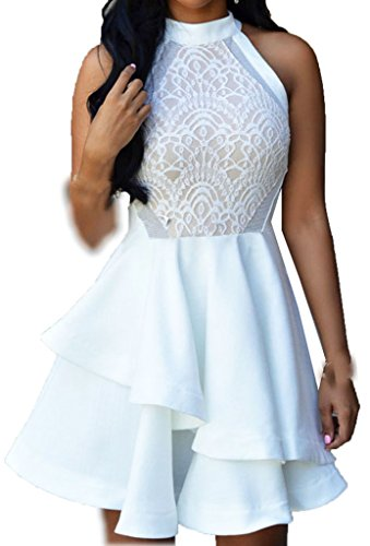 ZKESS Women's Sleeveless Lace Party Club Skater Dress SSize White