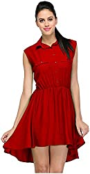 R&V Women's A-Line Dress (DRS1023_Red, Red, XL)
