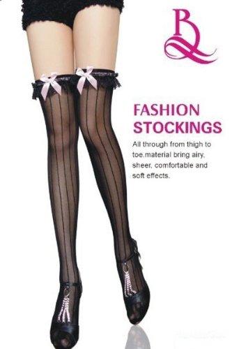 Sexy, colore: nero a strisce autoreggenti con giarrettiera, motivo addio al nubilato, lingerie, vestiti, misura 8, 10 e 12