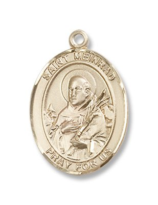 Gold Filled St. Meinrad of Einsideln Medal Pendant Charm with 18