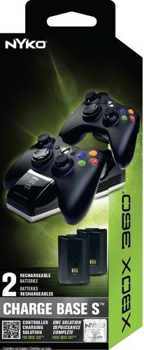 Nyko Charge Base S - 2 Port Controller Charger with 2 Rechargeable BATTERIES for Xbox 360