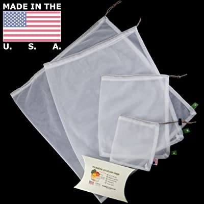 Reusable Produce Bags ~ Hand Sewn USA Made Washable Veggie Mesh Bags in 4 Various Sizes, Large Med Sm + Mini Bag w/Poplock