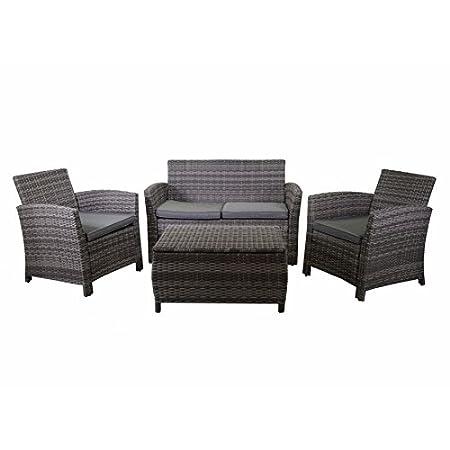 Conjunto muebles de jardín de 4 piezas: Sofá, 2 sillones y mesa. Elaborado en tubo de acero de pintado al horno con asiento y respaldo en rattán sintético color gris