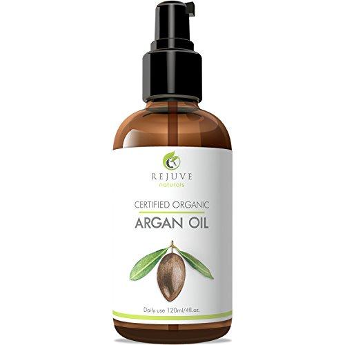 Aceite de argán marroquí RejuveNaturals Virgen - 100% puro y certificado orgánico (4 fl. oz.) para rostro, cabello, piel y uñas