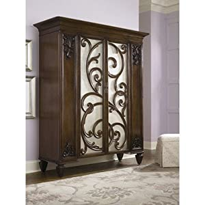 American Drew Jessica McClintock Couture Mink Jewelry Armoire with Stool from American Drew