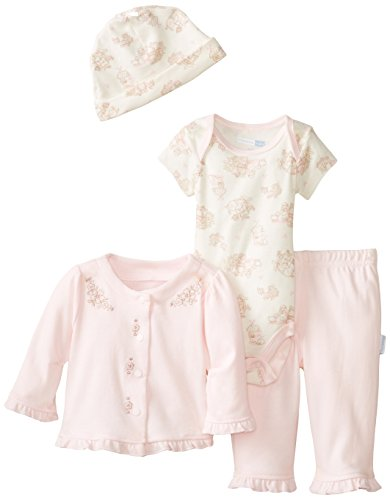 Vitamins Baby Baby-Girls Newborn Floral Embroidered 4 Piece Gift Set, Pink, New Born