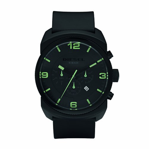 Diesel Men's Black Chronograph Watch Dz4192 With Black Pu Strap