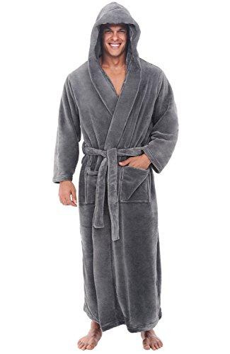 Del Rossa Men's Fleece Robe, Long Hooded Bathrobe, Large XL Steel Gray (A0125STLXL)