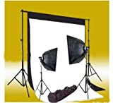 CowboyStudio 220 Watt Photography Studio Monolight Flash Lighting Kit - 2 Studio Flash/Strobe, 2 Softboxes, 1 Background Support System, Black & White Muslin Backdrops plus Carry Case