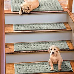 Weave Washable Stair Treads Set of 4 - WHITE - Improvements
