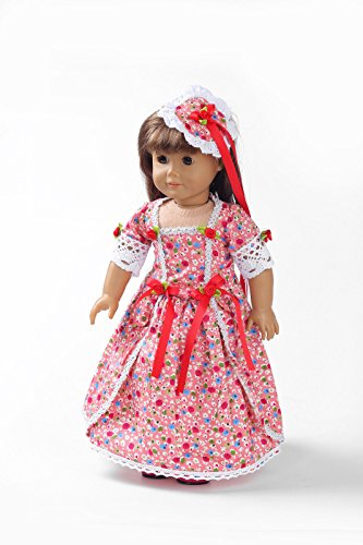 Teenitor(TM) Pink Flower Pattern Long Dress Fits 18 Inch Girl Dolls (Shipping By FBA)
