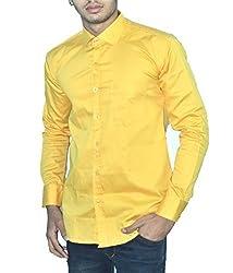 Neptune Solid Men's Casual Shirt Yellow